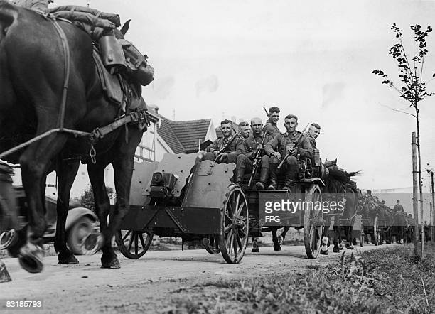 A German army convoy during autumn manoeuvres in Bad Nauheim Germany 21st September 1936