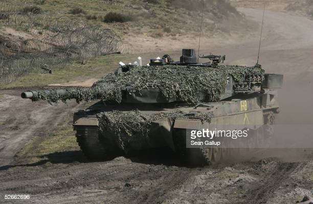 German army Leopard 2A6 heavy tank participates in the European Challenge 2005 joint military exercises April 20 2005 in Bergen Germany The exercises...