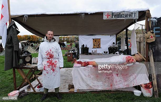 German Army medic reenactor stands in his medical tent during the wartime and 1940's weekend event on October 17 2015 in Pickering England The...