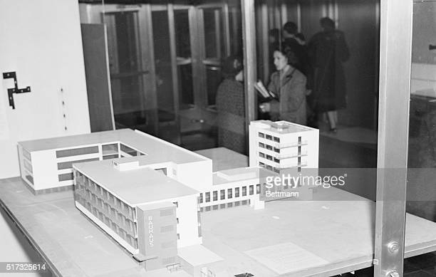 German Art and Craft Exhibit in New York New York New York A model of the Bauhaus School building at Weimar Germany as exhibited at the Museum of...