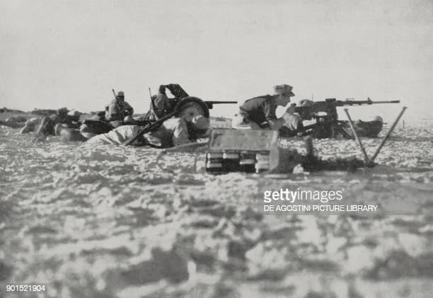 German artillery and machine gunners on the Egyptian front World War II from L'Illustrazione Italiana Year LXIX No 46 November 15 1942