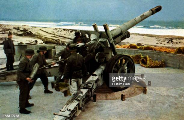 German artillery at coastal fortifications during World War 2 Spanish postcard intended for supporters of Franco' s Republic which was in favour of...