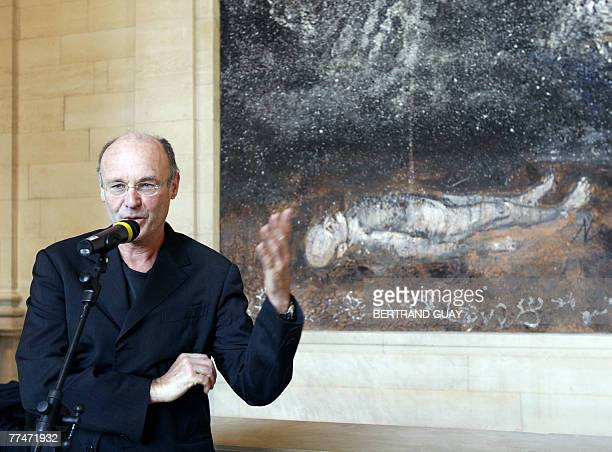 German artist Anselm Kiefer delivers a speech 24 October 2007 at the Louvre museum in Paris in front of his painting 'Athanor' which was made...