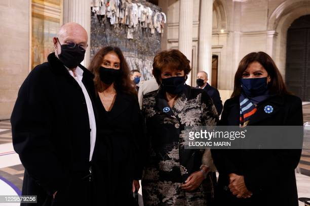 German artist Anselm Kiefer , French Culture Minister Roselyne Bachelot and Paris Mayor Anne Hidalgo pose inside the Pantheon monument, prior to a...