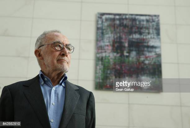 """German artist Gerhard Richter attends the inauguration of his series of four paintings called """"Birkenau"""" at the Reichstag on September 4, 2017 in..."""