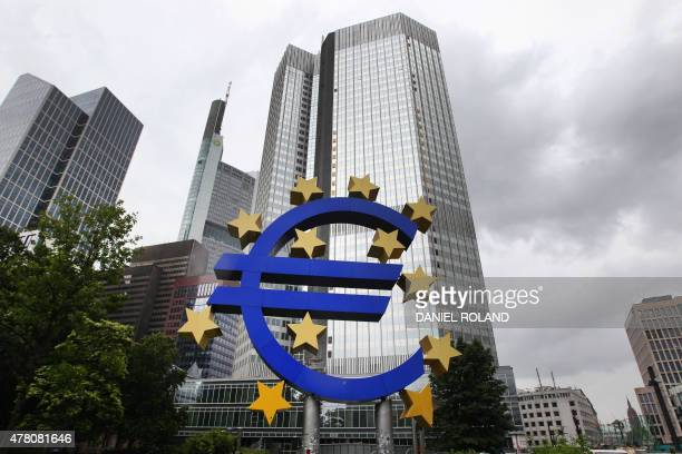 German artist Ottmar Hoerl 's sculpture depicting the Euro logo can be seen in front of the former headquarters of the European Central Bank in...