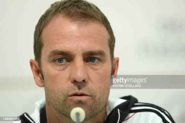 German assitant coach HansDieter Flick speaks during a press conference at media center near the Dwor Oliwski hotel in Gdansk on June 15 during the...