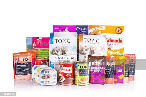 German assortment cat food on white