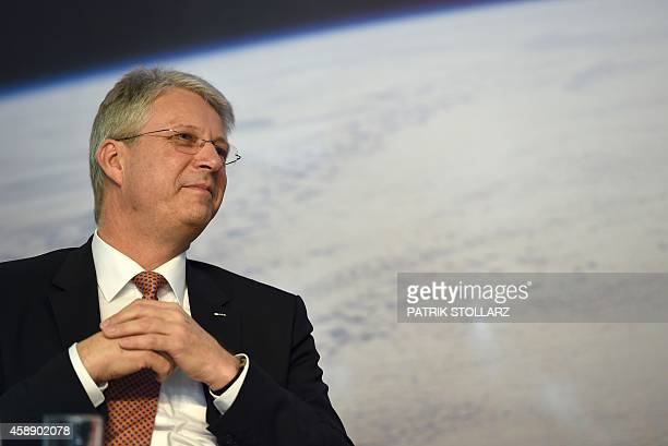 German astronaut and director at the European Space Agency Thomas Reiter attends a press conference at the ESA Center in Cologne western Germany on...