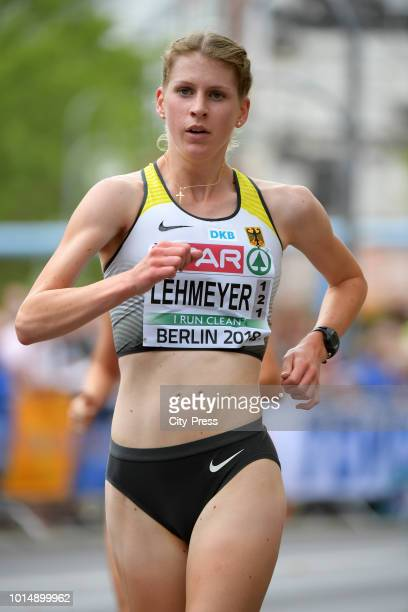 German athlete Emilia Lehmeyer competes in the Men's and Women's 20km Race Walk during day five of the 24th European Athletics Championships on...