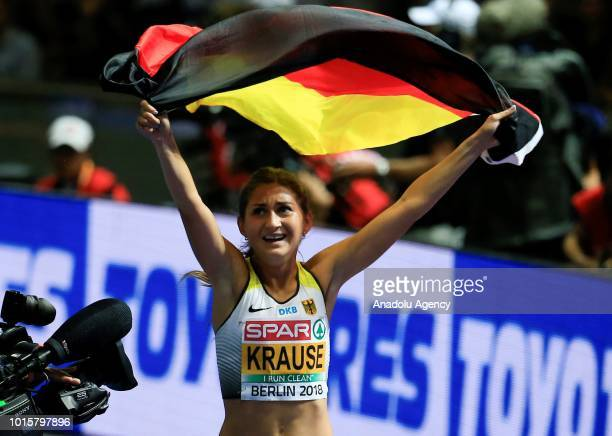 German athlete Gesa Felicitas Krause celebrates after winning the golden medal in women's 3000m hurdle race final during the 2018 European Athletics...