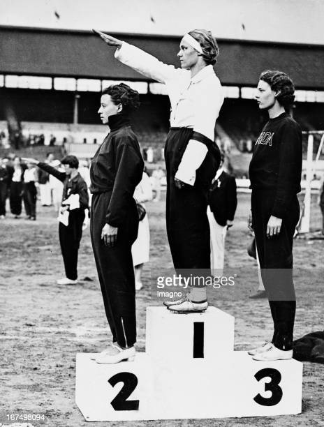 German athlete Grieme Selma at the award ceremony in the high jump of the Women's World Games at White City Stadium in London. August 10th 1934....