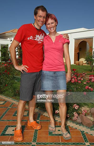 German athlete Kati Wilhelm and her friend Andreas Emslander look on during the Champion of the Year 2008 Award at Robinson Club Agadir on September...