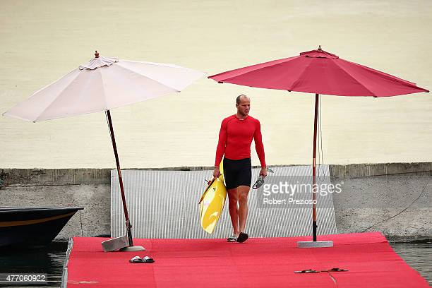 German athlete prepares to enter the water prior to competition during day two of the Baku 2015 European Games at Mingachevir on June 14 2015 in Baku...