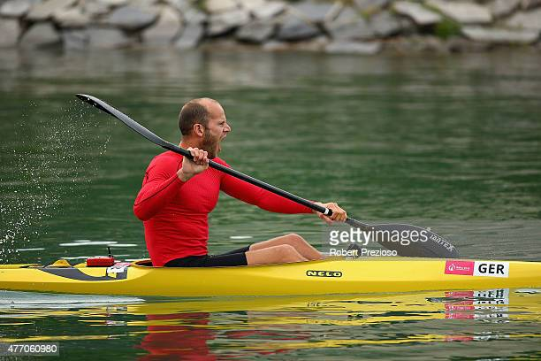 German athlete sets off to warm up prior to competition during day two of the Baku 2015 European Games at Mingachevir on June 14 2015 in Baku...