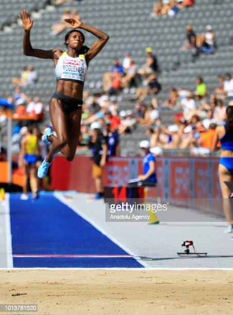 German athlete SostheneTaroum Moguenara competes in the women's Long Jump qualification during the fourth day of the 2018 European Athletics...