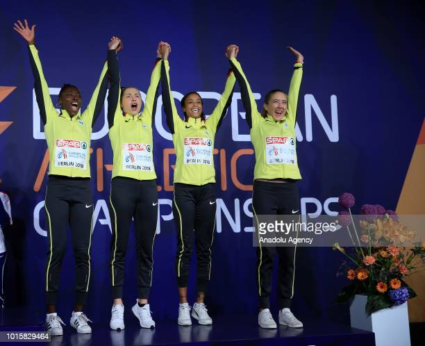 German athletes celebrate after winning the bronze medal in women's 4x100m relay final during the 2018 European Athletics Championships in Berlin...