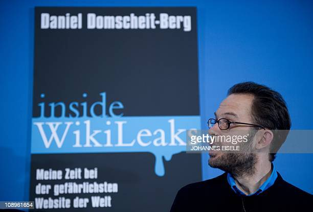 German author and IT specialist Daniel DomscheitBerg poses during the presentation of his book Inside WikiLeaks on February 10 2011 in Berlin...