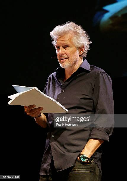 German author Frank Schaetzing performs live during his Breaking News Tournee 2014 at the Tempodrom on October 22 2014 in Berlin Germany