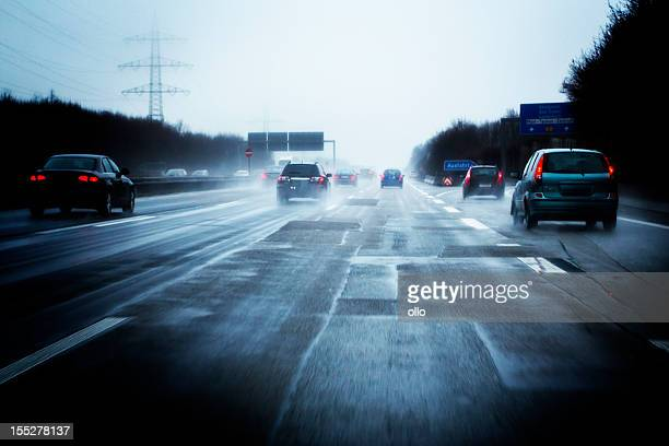 German Autobahn, bad weather conditions
