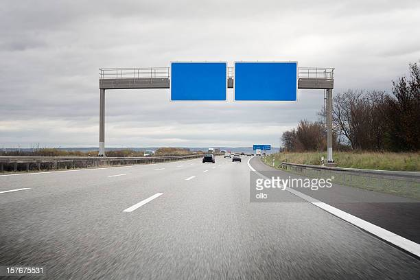 German Autobahn, empty road sign - copy space