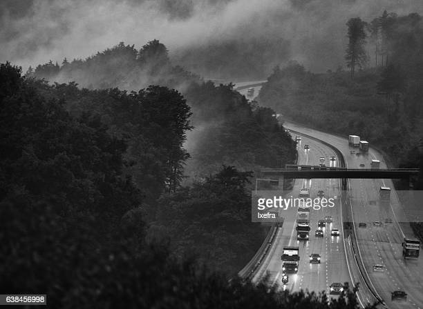 German Autobahn in dramatic weather