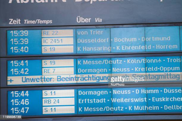 A german bahn information panel shows 'storm desturbs upon sunday afternoon' in center station on February 9 2020 in Cologne Germany