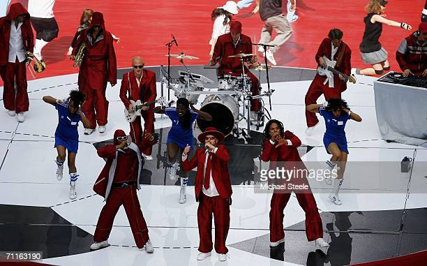 German Band Seeed perform a song during the FIFA World Cup Germany 2006 Opening Ceremony prior to the Group A match between Germany and Costa Rica at...
