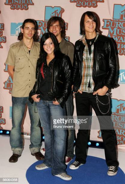 German band Silbermond arrive at the 12th annual MTV Europe Music Awards 2005 at the Atlantic Pavilion on November 3 2005 in Lisbon Portugal