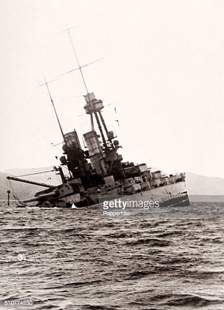 German battleship SS Bayern after hitting a mine in the Gulf of Riga during World War One on 12th October 1917 Despite being repaired she was...