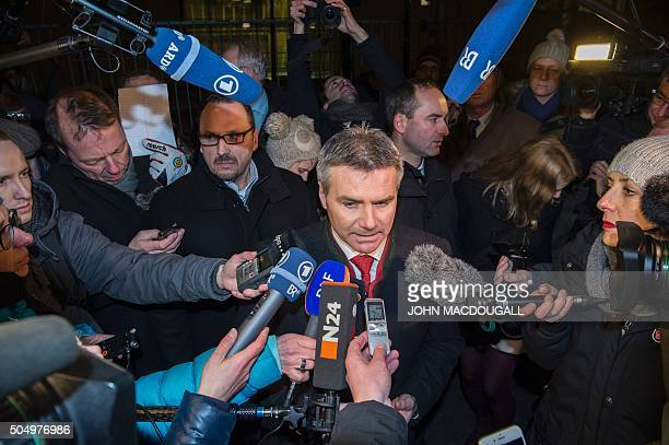 German Bavarian Landshut district administrator Peter Dreier speaks to reporters in front of the chancellery in Berlin on January 14 after he...