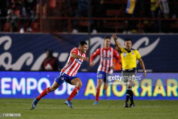 German Berterame of Atletico San Luis celebrates after scoring the second goal of his team during the 4th round match between Atletico San Luis and...