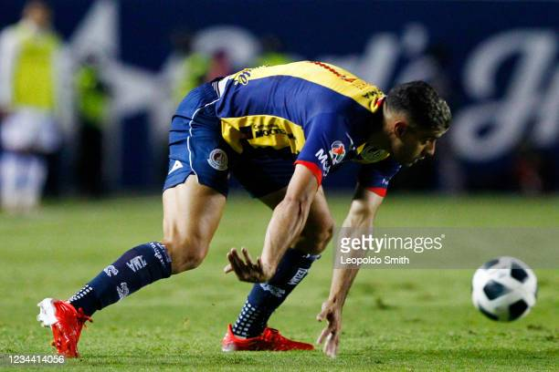German Berterame of Atletico San Luis controls the ball during a second round match against Queretaro in the Torneo Grita Mexico A21 Liga MX at...