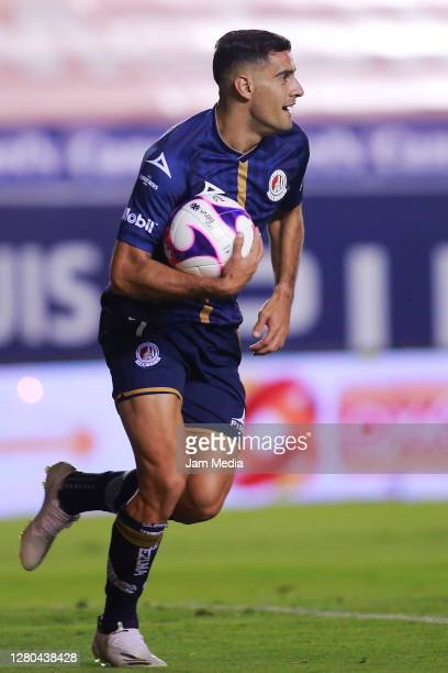 German Berterame of San Luis celebrates after scoring the first goal of his team during the 14th round match between Atletico San Luis and Queretaro...