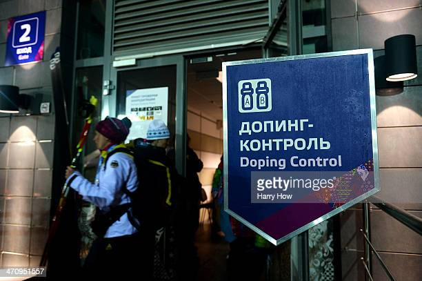 German biathlete exits a Doping Control station after the Women's 4 x 6 km Relay during day 14 of the Sochi 2014 Winter Olympics at Laura...
