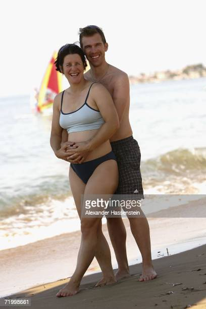 German Biathlon Athlete and Olympic Gold medalist Uschi Disl poses with her partner Thomas Soederborg at the 2006 Champion of the Year Week at the...