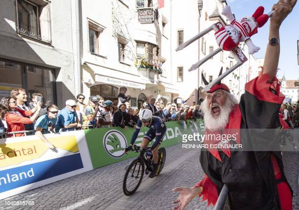German bike designer Dieter Senft 'Didi the Devil' attends the Men's Individual Time Trial road race between Rattenberg and Innsbruck during the UCI...