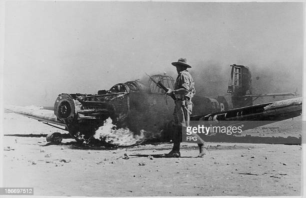 German bomber plane brought down by allied gunfire in Tobruk during World War Two Libya circa 19391945