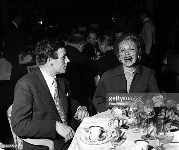 1954 German born American actress Marlene Dietrich is pictured enjoying herself at a luncheon party for the press at the Cafe de Paris
