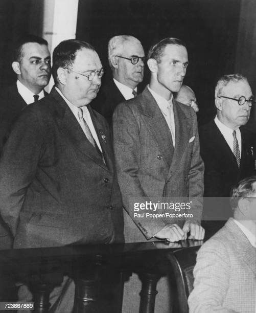 German born carpenter Richard Hauptmann pictured in the dock at Hunterdon County Courthouse in Flemington New Jersey at the start of the Lindbergh...