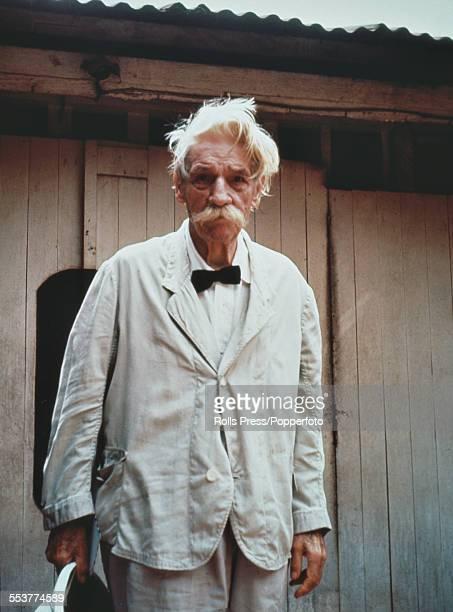 German born physician and philosopher Albert Schweitzer pictured outside his hospital in Lambarene Gabon circa 1960