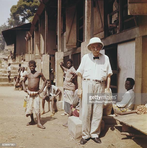 German born physician and philosopher Albert Schweitzer pictured in Lambarene Gabon circa 1960