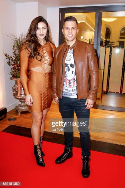 German box champion Tyron Zeuge and his girlfriend Anna Hoefel attend the German Boxing Awards 2017 on October 8 2017 in Hamburg Germany