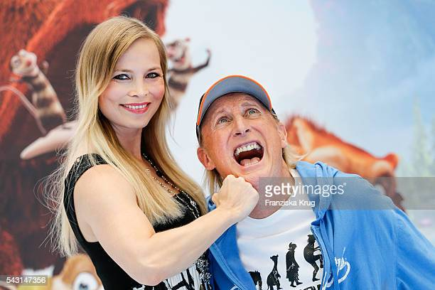 German Boxer Regina Halmich and german comedian Otto Waalkes attend the 'Ice Age Kollision Voraus' German Premiere at CineStar on June 26 2016 in...