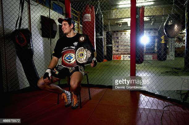German boxer Vincent Feigenbutz is interviewed on March 10 2015 in Karlsruhe Germany