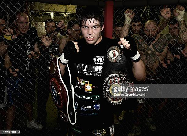 German boxer Vincent Feigenbutz poses on March 10 2015 in Karlsruhe Germany