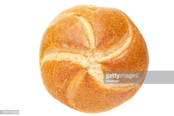 german bread roll on white background - bun stock pictures, royalty-free photos & images