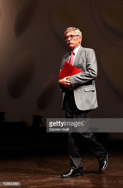 German Bundesbank board member Thilo Sarrazin arrives to read from his new book 'Deutschland Schafft Sich Ab' at Nikolai Hall on September 9 2010 in...