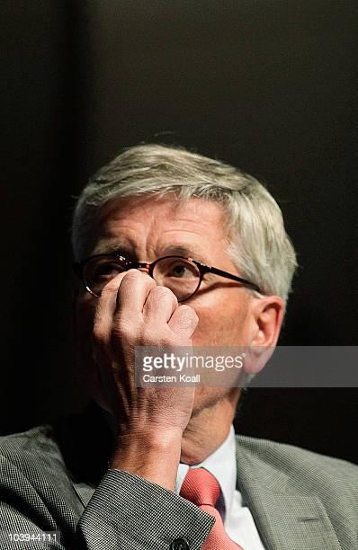 German Bundesbank board member Thilo Sarrazin reads from his new book 'Deutschland Schafft Sich Ab' at Nikolai Hall on September 9 2010 in Potsdam...