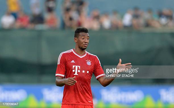 German Bundesliga first division football club FC Bayern Munich's defender Jerome Boateng reacts during a test match between FC Bayern Munich and...